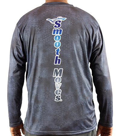 Smooth Moves | Performance Fishing Long Sleeve Tee Shirt Grey - Back