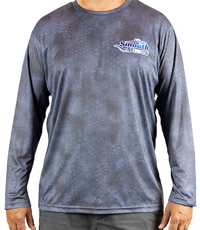 Smooth Moves | Performance Fishing Long Sleeve Tee Shirt Grey - Front