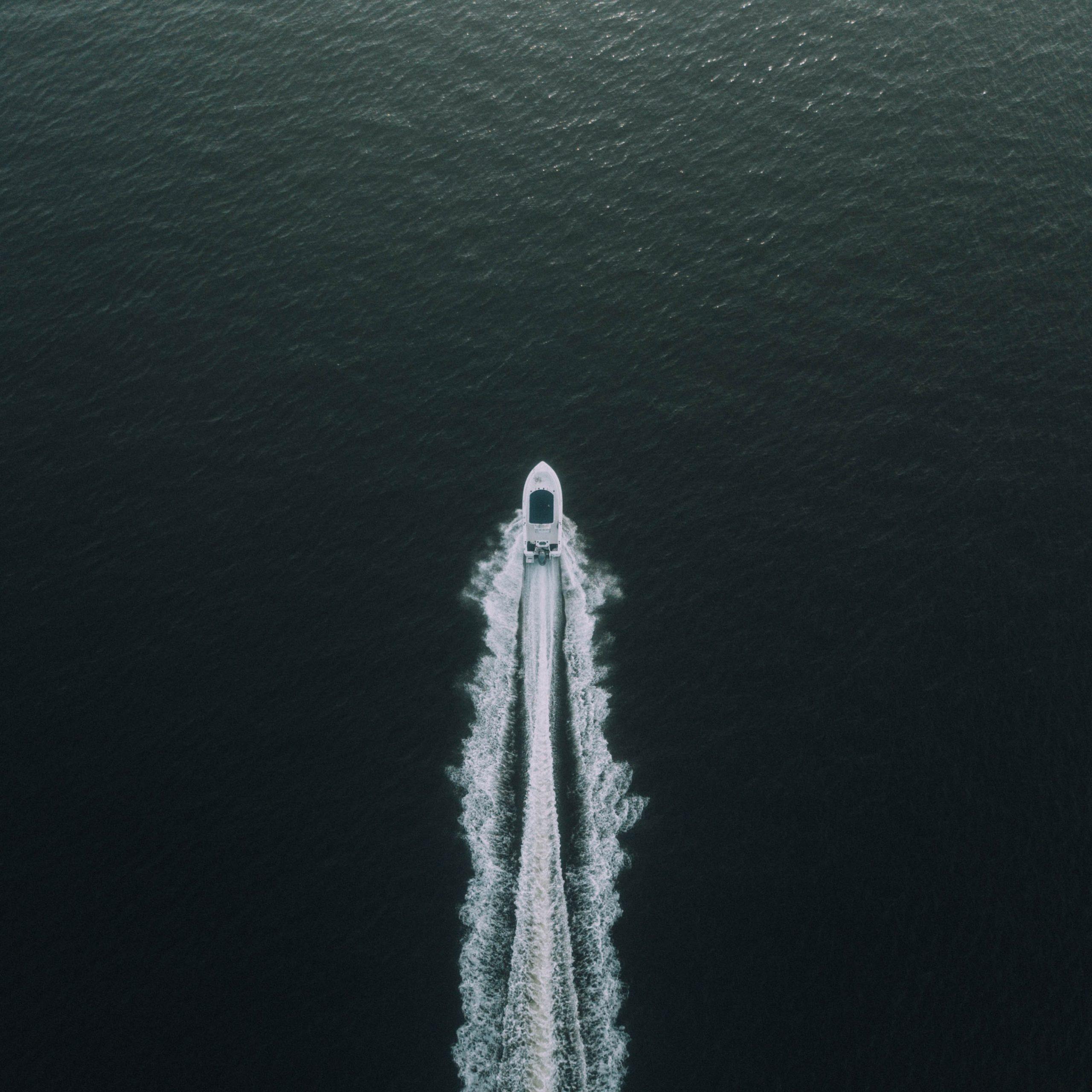 Overhead shot of boat.