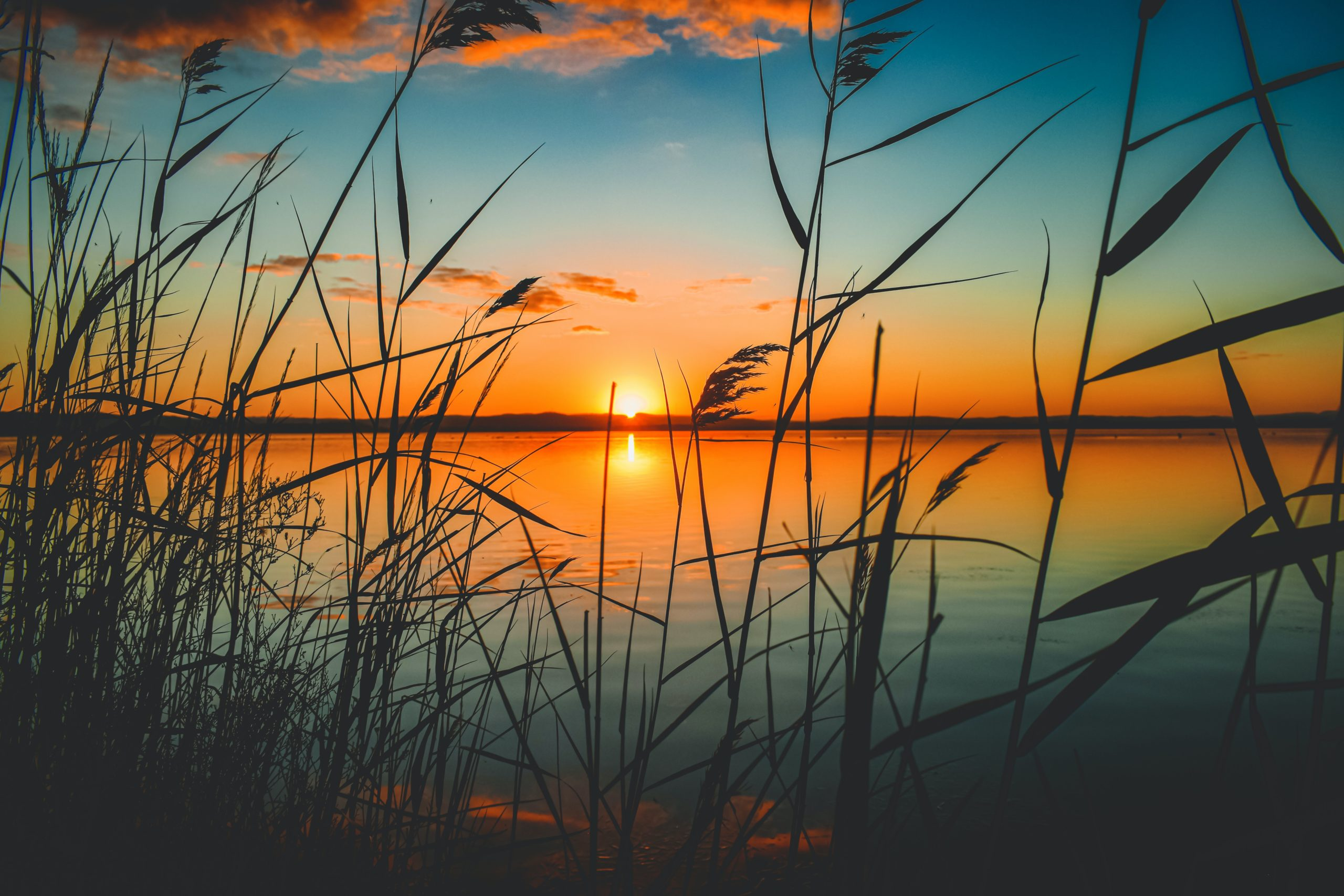 A sunset view of a lake.